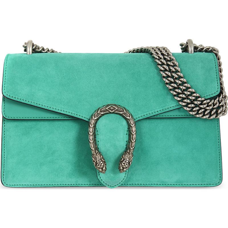 Dionysis Suede Shoulder Bag, Women's, Caribbean Jade Green - predominant colour: mint green; occasions: casual; type of pattern: standard; style: shoulder; length: shoulder (tucks under arm); size: standard; material: suede; pattern: plain; finish: plain; embellishment: chain/metal; season: a/w 2016; wardrobe: highlight
