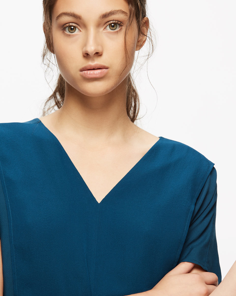 Double Layer Top - neckline: v-neck; pattern: plain; predominant colour: teal; occasions: evening; length: standard; style: top; fibres: viscose/rayon - 100%; fit: body skimming; sleeve length: short sleeve; sleeve style: standard; texture group: sheer fabrics/chiffon/organza etc.; pattern type: fabric; season: a/w 2016; wardrobe: event