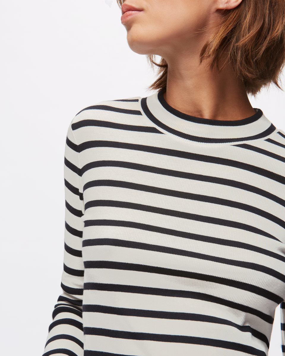 Stripe Rib Turtle Neck - pattern: horizontal stripes; neckline: high neck; predominant colour: white; secondary colour: black; occasions: casual; length: standard; style: top; fibres: cotton - stretch; fit: body skimming; sleeve length: long sleeve; sleeve style: standard; pattern type: fabric; texture group: jersey - stretchy/drapey; multicoloured: multicoloured; wardrobe: basic; season: a/w 2016