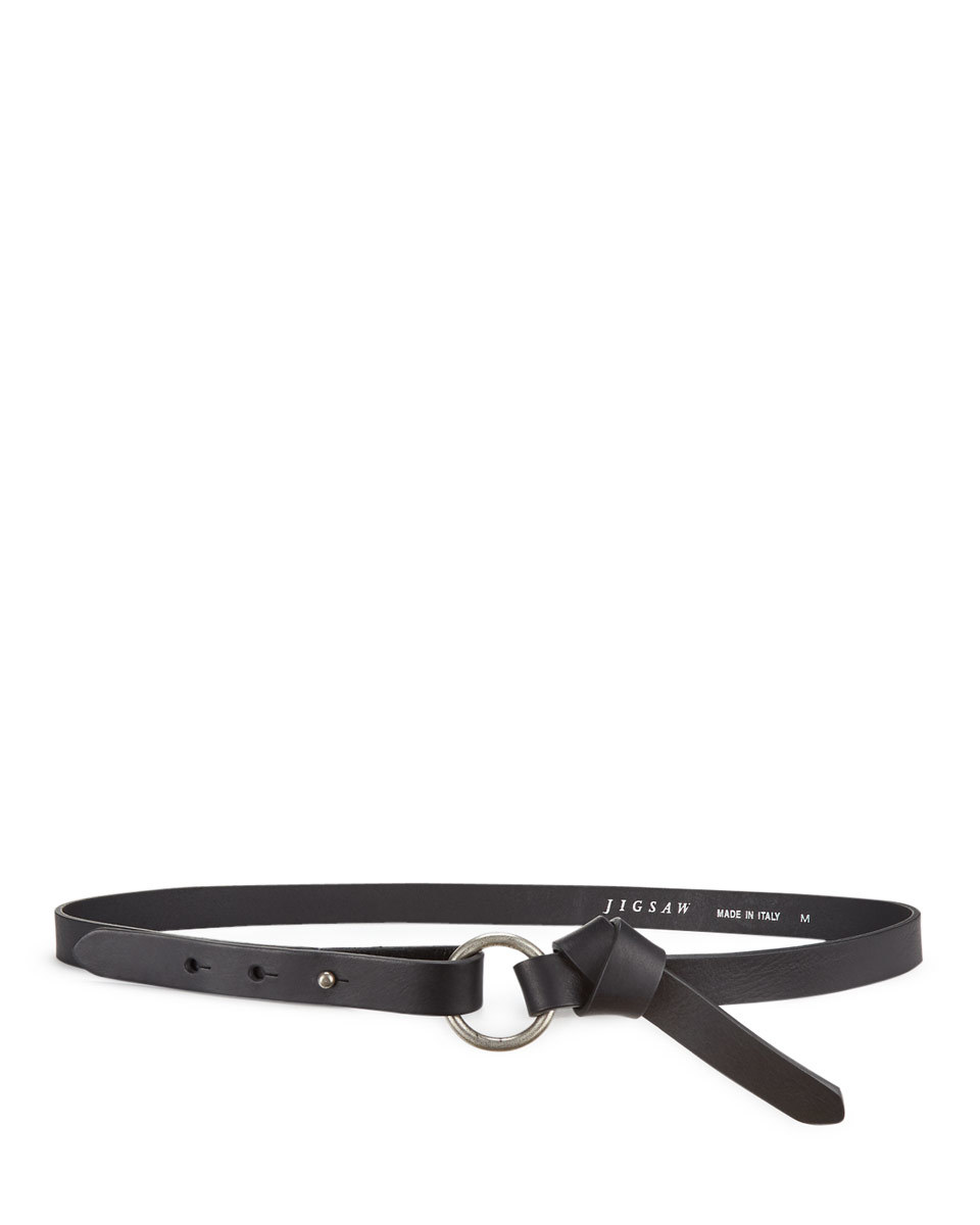 Bethan Circle Knot Waist Belt - predominant colour: black; occasions: casual, creative work; type of pattern: standard; style: classic; size: skinny; worn on: waist; material: leather; pattern: plain; finish: plain; season: a/w 2016