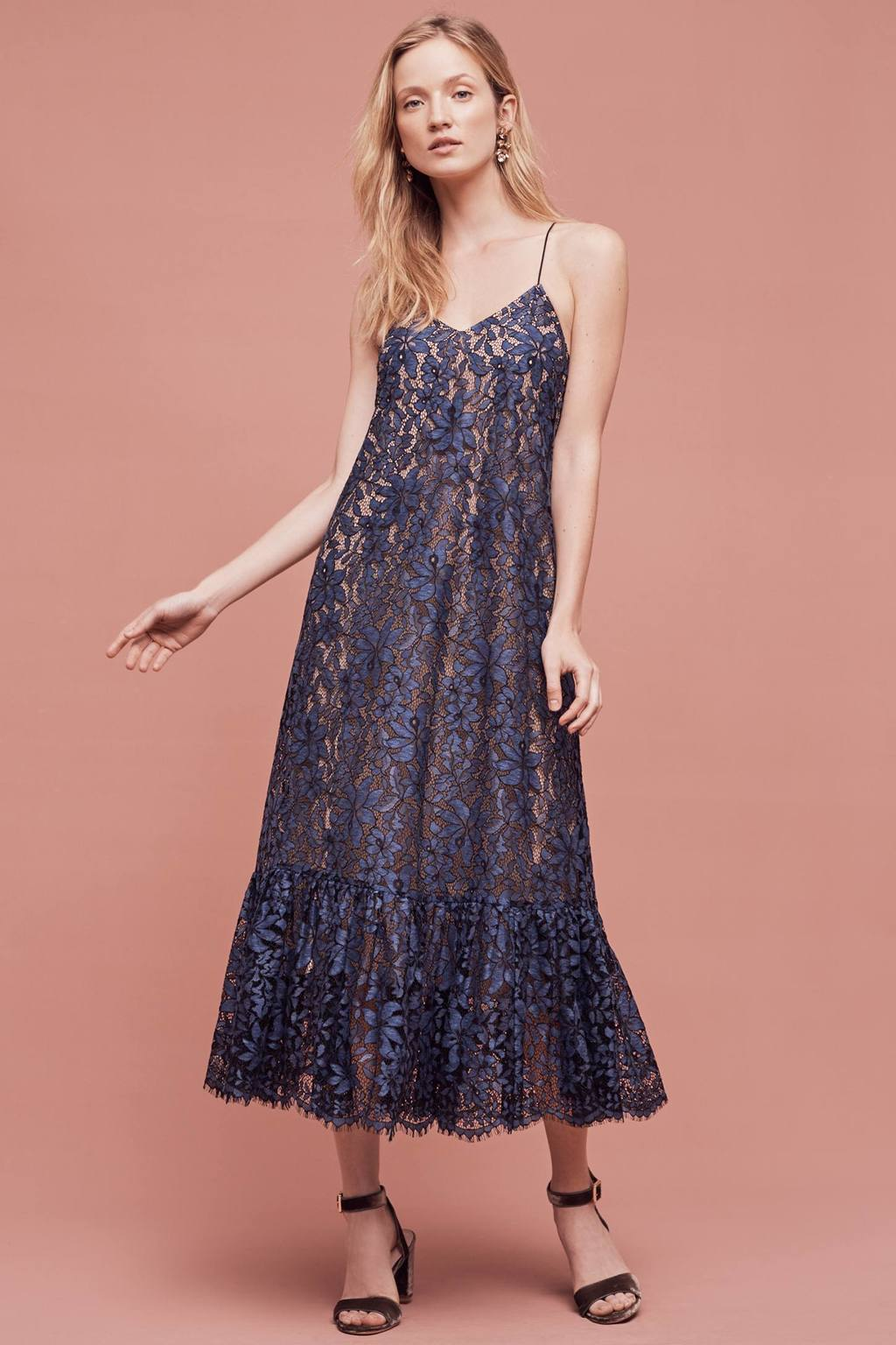 Celestial Lace Maxi Dress - neckline: low v-neck; sleeve style: spaghetti straps; style: maxi dress; length: ankle length; predominant colour: navy; secondary colour: nude; occasions: evening; fit: soft a-line; fibres: polyester/polyamide - 100%; sleeve length: sleeveless; texture group: lace; pattern type: fabric; pattern: patterned/print; season: a/w 2016; wardrobe: event