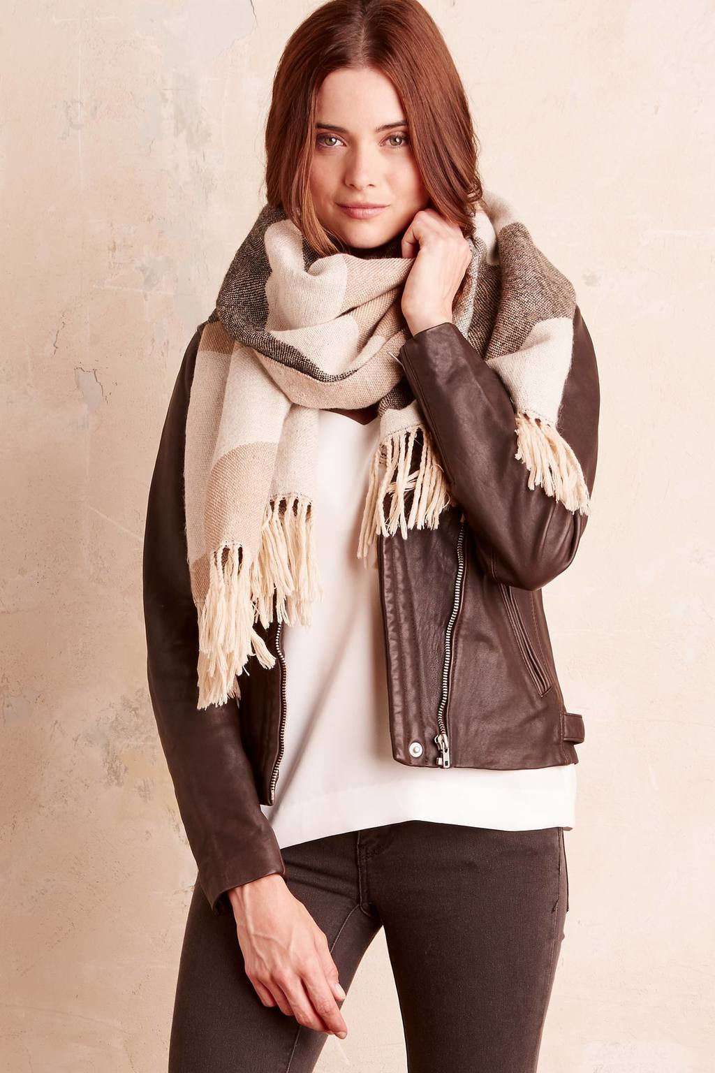 Ember Wool Scarf - secondary colour: taupe; predominant colour: charcoal; occasions: casual, creative work; type of pattern: standard; style: regular; size: large; material: knits; embellishment: fringing; pattern: colourblock; season: a/w 2016; wardrobe: highlight