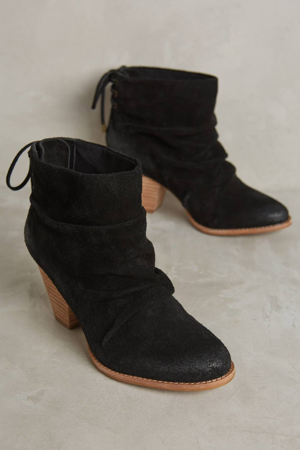 Rae Ruched Suede Boots - predominant colour: black; occasions: casual, creative work; material: suede; heel height: high; heel: block; toe: round toe; boot length: ankle boot; style: standard; finish: plain; pattern: plain; season: a/w 2016; wardrobe: highlight