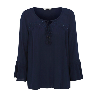 Embroidered Peasant Blouse Navy - pattern: plain; neckline: pussy bow; style: blouse; sleeve style: volant; predominant colour: navy; occasions: casual, creative work; length: standard; fibres: polyester/polyamide - 100%; fit: loose; sleeve length: 3/4 length; texture group: crepes; pattern type: fabric; season: a/w 2016; wardrobe: highlight