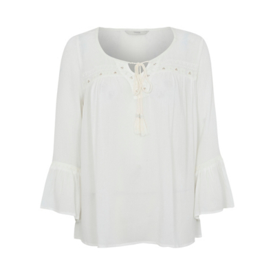 Embroidered Peasant Top Cream - neckline: round neck; sleeve style: bell sleeve; pattern: plain; predominant colour: ivory/cream; occasions: casual; length: standard; style: top; fibres: viscose/rayon - 100%; fit: body skimming; sleeve length: long sleeve; texture group: crepes; pattern type: fabric; season: a/w 2016