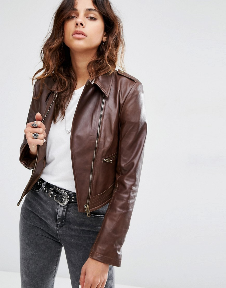 Leather Biker Jacket In Classic Fit With Stitch Detail Brown - pattern: plain; style: biker; collar: asymmetric biker; fit: slim fit; predominant colour: chocolate brown; occasions: casual; fibres: leather - 100%; sleeve length: long sleeve; sleeve style: standard; texture group: leather; collar break: high/illusion of break when open; pattern type: fabric; length: cropped; wardrobe: basic; season: a/w 2016