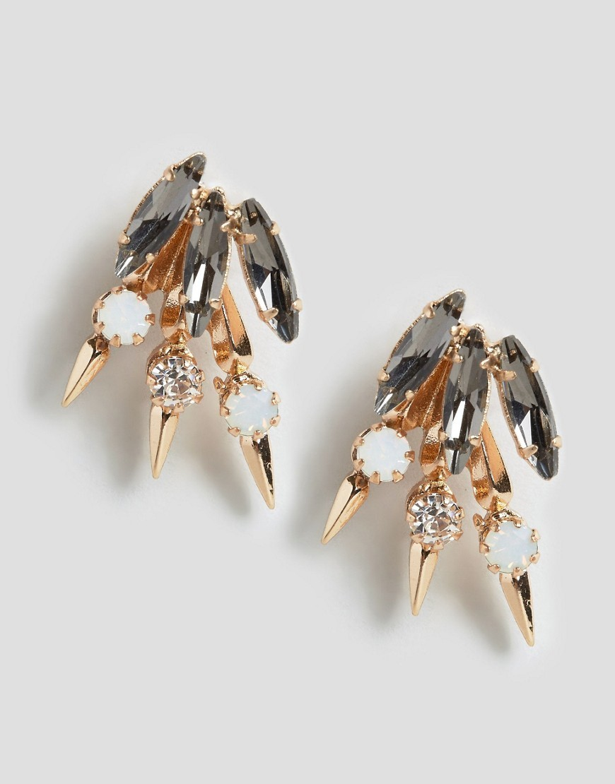 Fountainvalley Stud Earrings Gold - predominant colour: gold; occasions: evening, occasion; style: stud; length: short; size: standard; material: chain/metal; fastening: pierced; finish: metallic; embellishment: jewels/stone; season: a/w 2016; wardrobe: event
