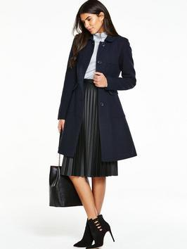 Dolly Coat - pattern: plain; style: single breasted; length: on the knee; predominant colour: navy; occasions: work; fit: tailored/fitted; fibres: wool - mix; collar: shirt collar/peter pan/zip with opening; sleeve length: long sleeve; sleeve style: standard; collar break: high; pattern type: fabric; texture group: woven bulky/heavy; season: a/w 2016