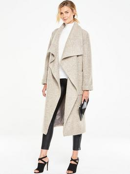 Oversized Drape Coat - collar: shawl/waterfall; fit: loose; length: calf length; predominant colour: stone; occasions: casual, creative work; fibres: wool - mix; sleeve length: long sleeve; sleeve style: standard; collar break: low/open; pattern type: fabric; pattern size: light/subtle; texture group: woven bulky/heavy; style: single breasted military coat; pattern: marl; season: a/w 2016