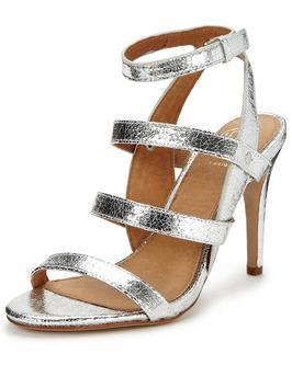July Multi Strap Heeled Sandal - predominant colour: silver; occasions: evening, occasion; material: faux leather; heel height: high; ankle detail: ankle strap; heel: stiletto; toe: open toe/peeptoe; style: strappy; finish: metallic; pattern: plain; season: a/w 2016; wardrobe: event