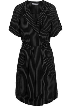 Pinstriped Crepe Dress Black - style: faux wrap/wrap; neckline: v-neck; pattern: pinstripe; waist detail: belted waist/tie at waist/drawstring; secondary colour: light grey; predominant colour: black; occasions: evening; length: just above the knee; fit: body skimming; sleeve length: short sleeve; sleeve style: standard; texture group: crepes; pattern type: fabric; fibres: viscose/rayon - mix; multicoloured: multicoloured; season: a/w 2016; wardrobe: event