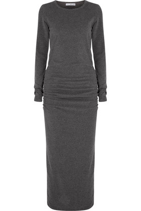 Ruched Cotton Blend Jersey Maxi Dress Charcoal - pattern: plain; style: maxi dress; length: ankle length; predominant colour: charcoal; occasions: casual; fit: body skimming; fibres: cotton - mix; neckline: crew; sleeve length: long sleeve; sleeve style: standard; pattern type: fabric; texture group: jersey - stretchy/drapey; wardrobe: basic; season: a/w 2016