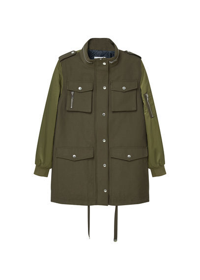Quilted Multi Pocket Parka - pattern: plain; length: below the bottom; collar: funnel; fit: loose; style: parka; predominant colour: khaki; occasions: casual; fibres: cotton - mix; sleeve length: long sleeve; sleeve style: standard; texture group: technical outdoor fabrics; collar break: high; pattern type: fabric; wardrobe: basic; season: a/w 2016