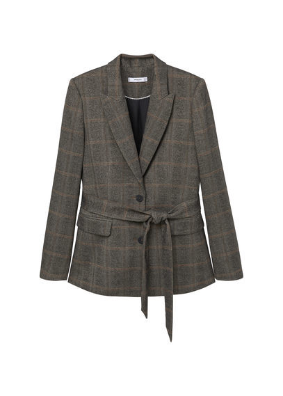 Check Suit Blazer - pattern: checked/gingham; style: single breasted blazer; collar: standard lapel/rever collar; secondary colour: camel; predominant colour: charcoal; occasions: work; length: standard; fit: tailored/fitted; fibres: wool - mix; waist detail: belted waist/tie at waist/drawstring; sleeve length: long sleeve; sleeve style: standard; collar break: medium; pattern type: fabric; texture group: woven light midweight; season: a/w 2016; wardrobe: highlight