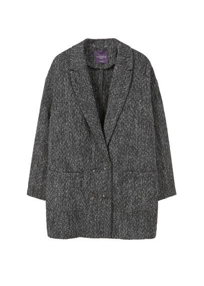 Flecked Wool Blend Blazer - style: single breasted blazer; fit: slim fit; collar: standard lapel/rever collar; predominant colour: charcoal; occasions: casual, creative work; length: standard; fibres: wool - mix; sleeve length: long sleeve; sleeve style: standard; collar break: medium; pattern type: fabric; texture group: tweed - bulky/heavy; pattern: marl; wardrobe: basic; season: a/w 2016
