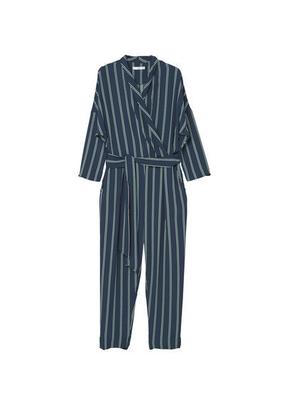 Printed Wrap Jumpsuit - length: standard; neckline: v-neck; pattern: striped; waist detail: belted waist/tie at waist/drawstring; predominant colour: navy; secondary colour: light grey; occasions: evening; fit: body skimming; fibres: viscose/rayon - 100%; sleeve length: long sleeve; sleeve style: standard; style: jumpsuit; pattern type: fabric; texture group: woven light midweight; multicoloured: multicoloured; season: a/w 2016; wardrobe: event