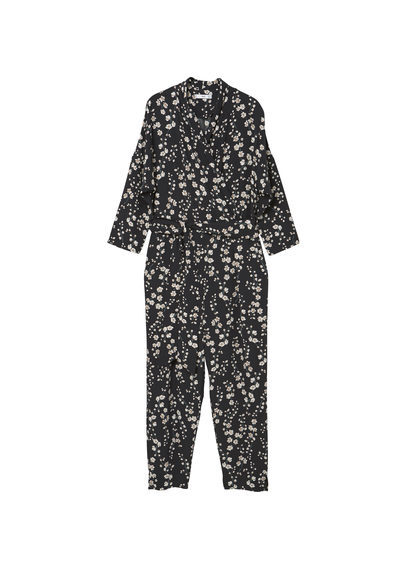 Printed Wrap Jumpsuit - length: standard; neckline: high neck; secondary colour: stone; predominant colour: black; occasions: evening; fit: body skimming; fibres: viscose/rayon - 100%; sleeve length: long sleeve; sleeve style: standard; style: jumpsuit; pattern type: fabric; pattern: patterned/print; texture group: jersey - stretchy/drapey; multicoloured: multicoloured; season: a/w 2016; wardrobe: event