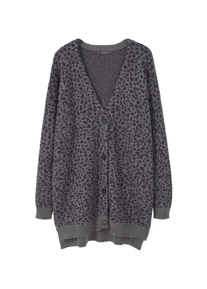 Animal Print Cardigan - neckline: v-neck; length: below the bottom; predominant colour: charcoal; occasions: casual; style: standard; fibres: wool - mix; fit: loose; sleeve length: long sleeve; sleeve style: standard; texture group: knits/crochet; pattern type: knitted - fine stitch; pattern: animal print; season: a/w 2016; wardrobe: highlight