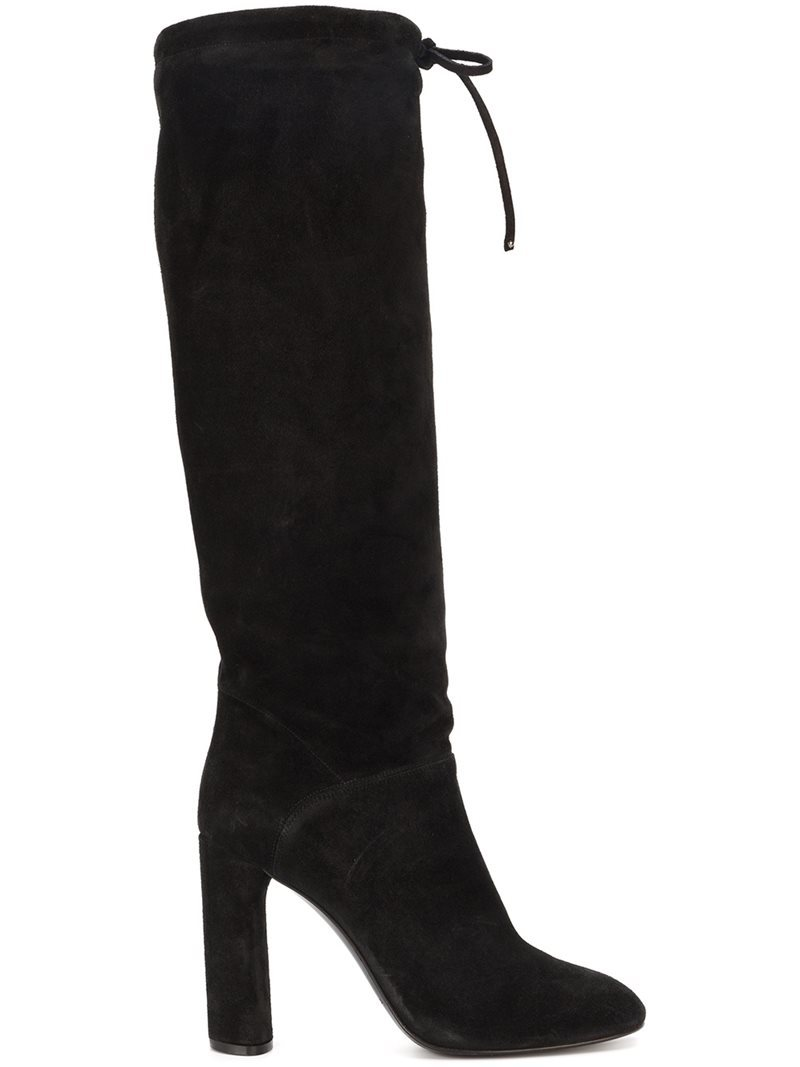 Wide Leg High Knee Boots, Women's, Black - predominant colour: black; occasions: casual; material: suede; heel: block; toe: pointed toe; boot length: over the knee; style: standard; finish: plain; pattern: plain; heel height: very high; season: a/w 2016; wardrobe: highlight