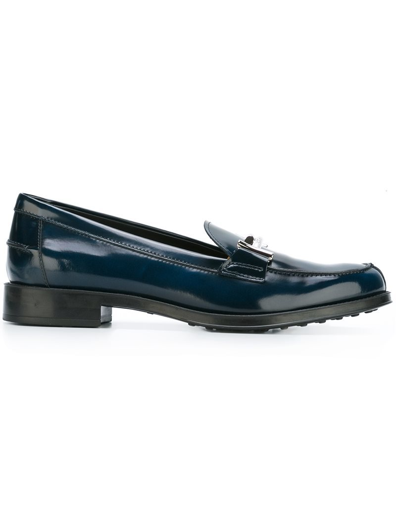 'double T' Loafers, Women's, Blue - predominant colour: black; occasions: casual; material: leather; heel height: flat; toe: round toe; style: loafers; finish: patent; pattern: plain; season: a/w 2016