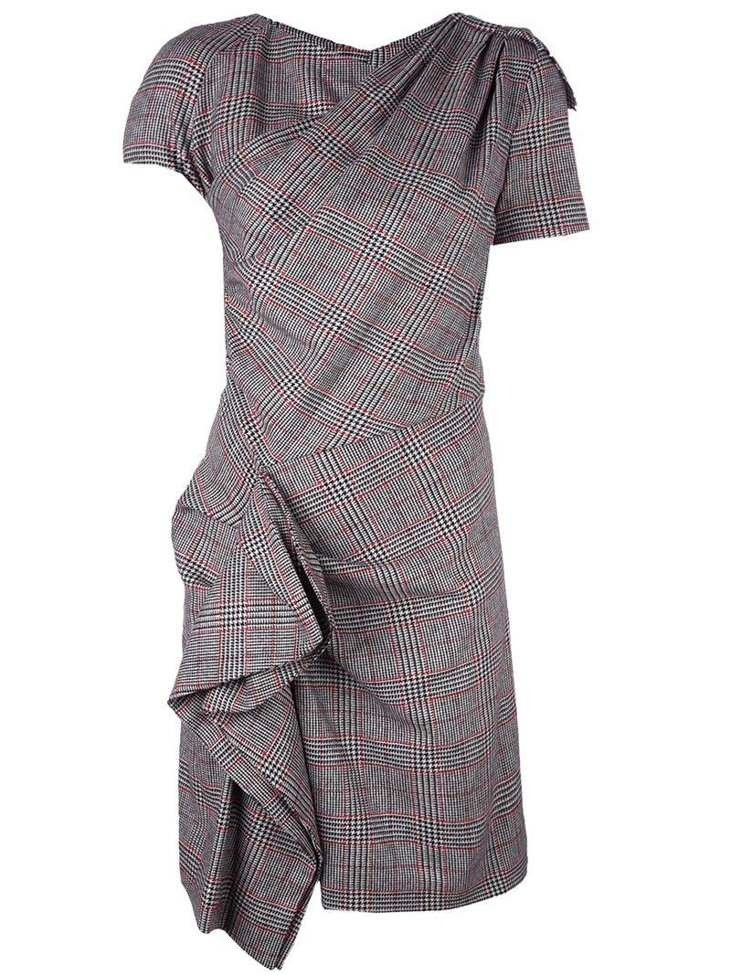 'kinsley' Dress, Women's, Grey - style: shift; neckline: v-neck; fit: tailored/fitted; pattern: checked/gingham; predominant colour: mid grey; occasions: evening, work; length: just above the knee; fibres: polyester/polyamide - stretch; hip detail: adds bulk at the hips; sleeve length: short sleeve; sleeve style: standard; pattern type: fabric; texture group: woven light midweight; season: a/w 2016; wardrobe: highlight