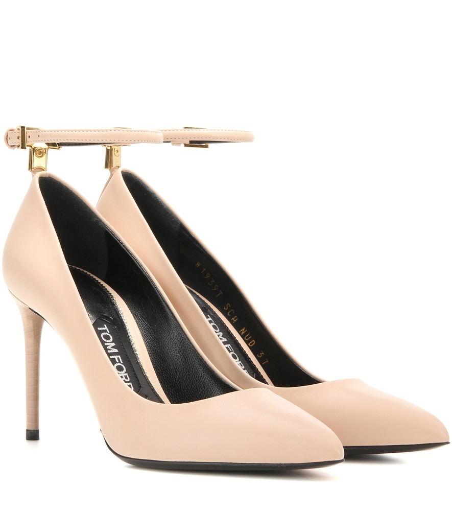 Leather Pumps - predominant colour: nude; occasions: evening; material: leather; heel height: high; ankle detail: ankle strap; heel: stiletto; toe: pointed toe; style: courts; finish: plain; pattern: plain; season: a/w 2016; wardrobe: event