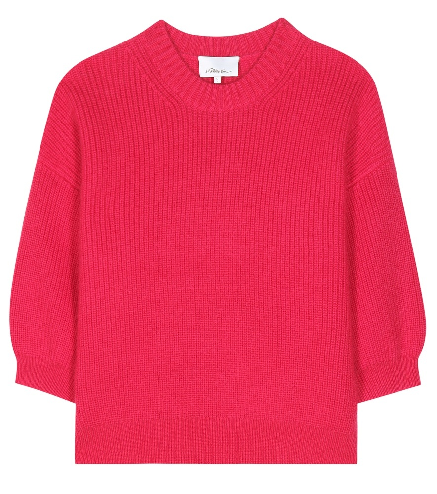 Wool Blend Sweater - pattern: plain; style: square cut; predominant colour: hot pink; occasions: casual, creative work; length: standard; fibres: wool - mix; fit: loose; neckline: crew; sleeve length: half sleeve; sleeve style: standard; texture group: knits/crochet; pattern type: knitted - other; season: a/w 2016; wardrobe: highlight