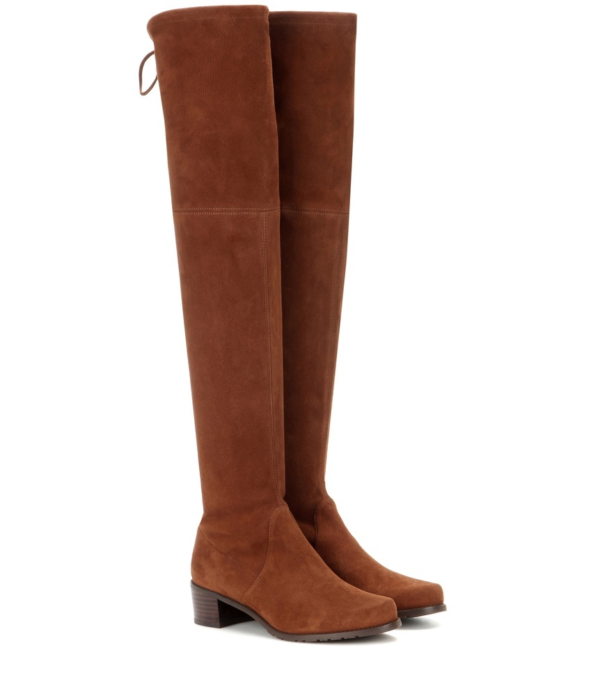 Midland Suede Over The Knee Boots - predominant colour: tan; occasions: casual; material: suede; heel height: flat; heel: block; toe: round toe; boot length: over the knee; style: standard; finish: plain; pattern: plain; season: a/w 2016; wardrobe: highlight