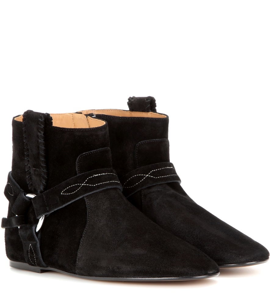 étoile Ralf Suede Ankle Boots - predominant colour: black; occasions: casual; material: suede; heel height: flat; heel: standard; toe: pointed toe; boot length: ankle boot; style: standard; finish: plain; pattern: plain; wardrobe: basic; season: a/w 2016