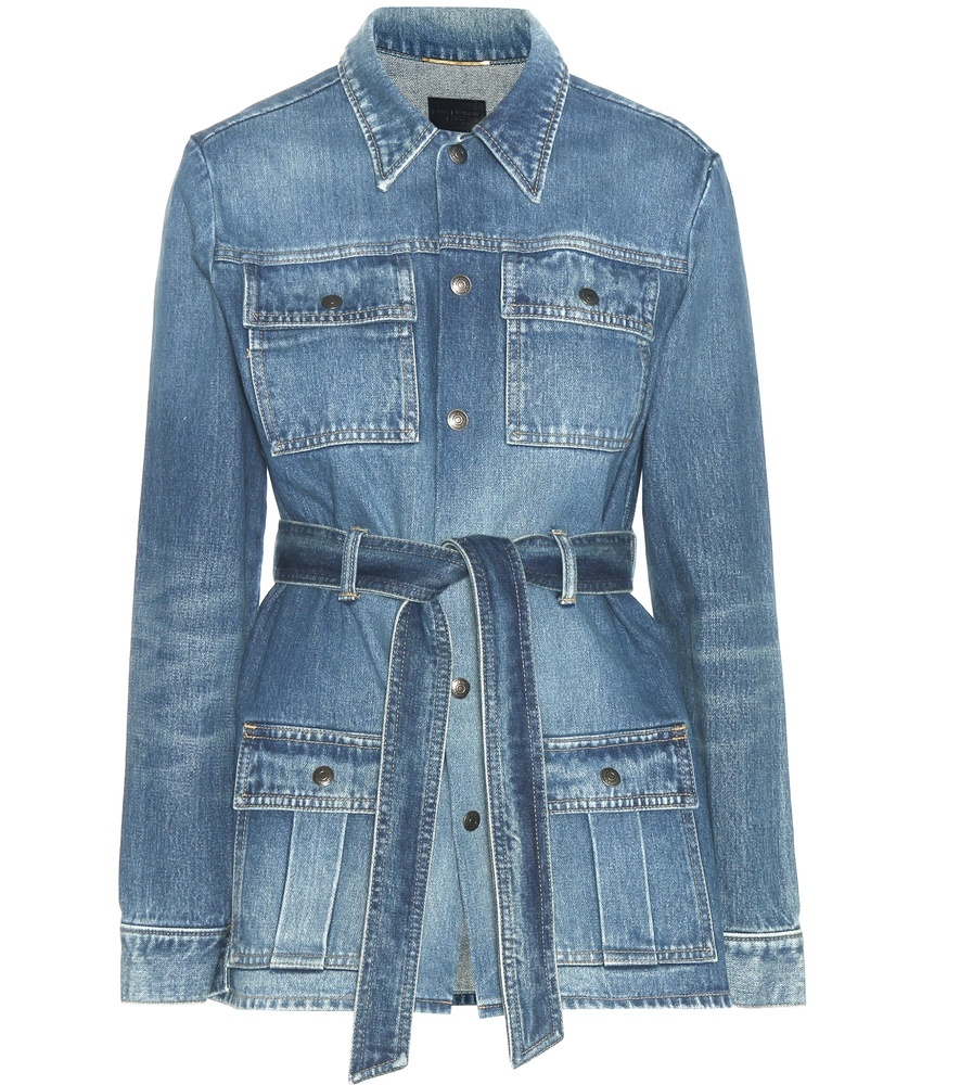 Denim Jacket - pattern: plain; style: denim; fit: slim fit; predominant colour: stone; occasions: casual; length: standard; fibres: cotton - 100%; collar: shirt collar/peter pan/zip with opening; waist detail: belted waist/tie at waist/drawstring; sleeve length: long sleeve; sleeve style: standard; texture group: denim; collar break: high; pattern type: fabric; wardrobe: basic; season: a/w 2016