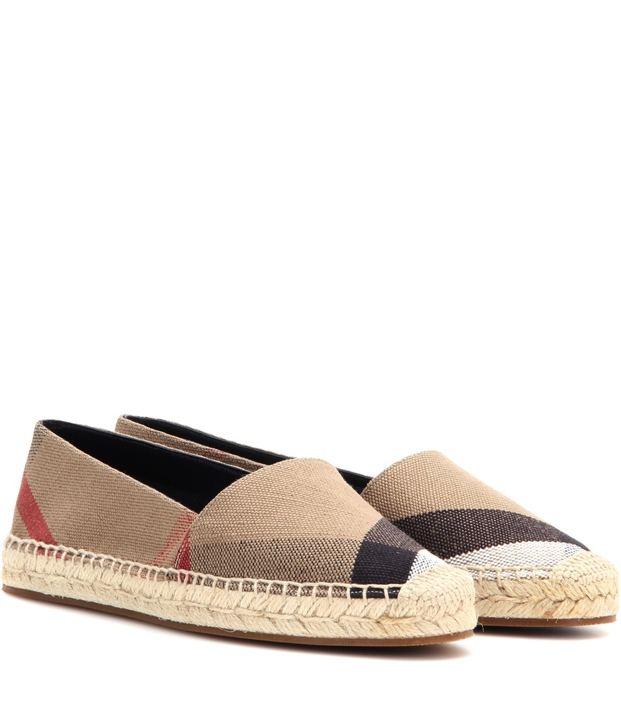 Hodgeson Check Espadrilles - predominant colour: taupe; occasions: casual, holiday; material: suede; heel height: flat; toe: round toe; finish: plain; pattern: checked/gingham; style: espadrilles; multicoloured: multicoloured; season: a/w 2016; wardrobe: highlight