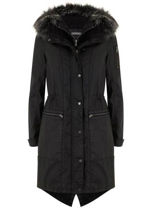 Washed Black Waxed Parka - pattern: plain; fit: loose; style: parka; length: on the knee; predominant colour: black; occasions: casual; fibres: cotton - 100%; waist detail: belted waist/tie at waist/drawstring; sleeve length: long sleeve; sleeve style: standard; texture group: technical outdoor fabrics; collar: fur; collar break: high; pattern type: fabric; wardrobe: basic; season: a/w 2016