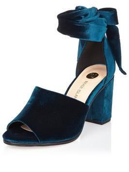 Velvet Block Heel Tie Up - predominant colour: royal blue; occasions: evening; material: velvet; heel height: mid; heel: block; toe: open toe/peeptoe; style: standard; finish: plain; pattern: plain; season: a/w 2016; wardrobe: event