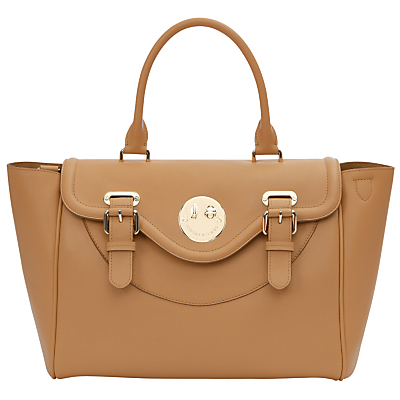 Happy Satchel - predominant colour: camel; occasions: casual, work, creative work; type of pattern: standard; style: tote; length: handle; size: standard; material: leather; pattern: plain; finish: plain; wardrobe: investment; season: a/w 2016