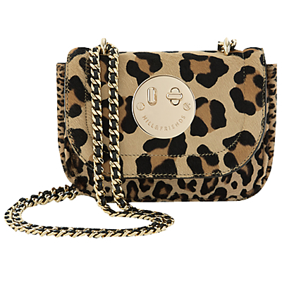 Happy Tweency Chain Shoulder Bag - predominant colour: camel; secondary colour: black; occasions: casual, creative work; type of pattern: heavy; style: shoulder; length: shoulder (tucks under arm); size: small; material: suede; pattern: animal print; finish: plain; embellishment: chain/metal; season: a/w 2016; wardrobe: highlight; trends: opulent prints
