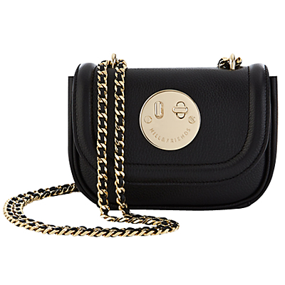 Happy Tweency Chain Shoulder Bag - secondary colour: gold; predominant colour: black; occasions: casual, creative work; type of pattern: standard; style: shoulder; length: across body/long; size: standard; material: suede; pattern: plain; finish: plain; embellishment: chain/metal; season: a/w 2016