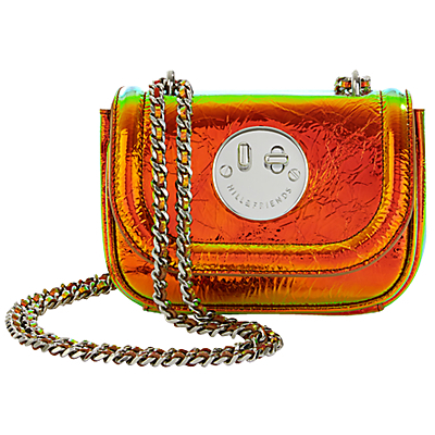 Happy Tweency Chain Shoulder Bag, Happy Disco - predominant colour: bright orange; secondary colour: gold; occasions: casual, creative work; type of pattern: standard; style: shoulder; length: shoulder (tucks under arm); size: small; material: leather; pattern: plain; finish: patent; embellishment: chain/metal; season: a/w 2016; wardrobe: highlight