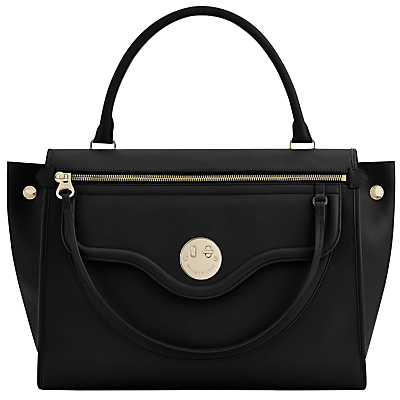 Happy Zippy Leather Shoulder Bag - predominant colour: black; occasions: casual, work, creative work; type of pattern: standard; style: shoulder; length: shoulder (tucks under arm); size: standard; material: leather; pattern: plain; finish: plain; wardrobe: investment; season: a/w 2016