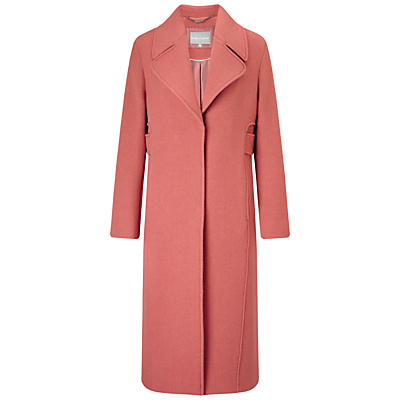 Adeline Wool Midi Coat, Dusty Pink - pattern: plain; style: single breasted; fit: slim fit; collar: standard lapel/rever collar; length: calf length; predominant colour: pink; occasions: casual; fibres: wool - mix; sleeve length: long sleeve; sleeve style: standard; collar break: medium; pattern type: fabric; texture group: woven bulky/heavy; season: a/w 2016; wardrobe: highlight