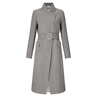 Harriet Wool Tweed Coat, Grey - pattern: plain; collar: funnel; style: single breasted; length: calf length; predominant colour: mid grey; occasions: work, creative work; fit: tailored/fitted; fibres: wool - 100%; waist detail: belted waist/tie at waist/drawstring; sleeve length: long sleeve; sleeve style: standard; collar break: high; pattern type: fabric; texture group: woven light midweight; season: a/w 2016