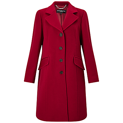 City Coat - pattern: plain; collar: wide lapels; style: single breasted; length: on the knee; predominant colour: true red; occasions: casual, work, creative work; fit: tailored/fitted; fibres: wool - mix; sleeve length: long sleeve; sleeve style: standard; collar break: medium; pattern type: fabric; texture group: woven bulky/heavy; season: a/w 2016