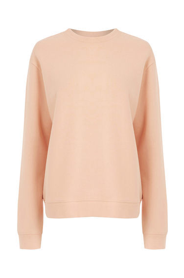 Oversized Sweater - pattern: plain; style: sweat top; predominant colour: nude; occasions: casual, activity; length: standard; fibres: cotton - 100%; fit: loose; neckline: crew; sleeve length: long sleeve; sleeve style: standard; pattern type: fabric; texture group: jersey - stretchy/drapey; season: a/w 2016
