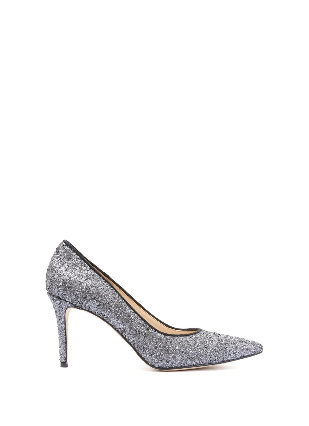 Glitter Rihanna Court, Metallic - predominant colour: silver; occasions: evening, occasion; material: leather; embellishment: glitter; heel: stiletto; toe: pointed toe; style: courts; finish: metallic; pattern: plain; heel height: very high; season: a/w 2016; wardrobe: event