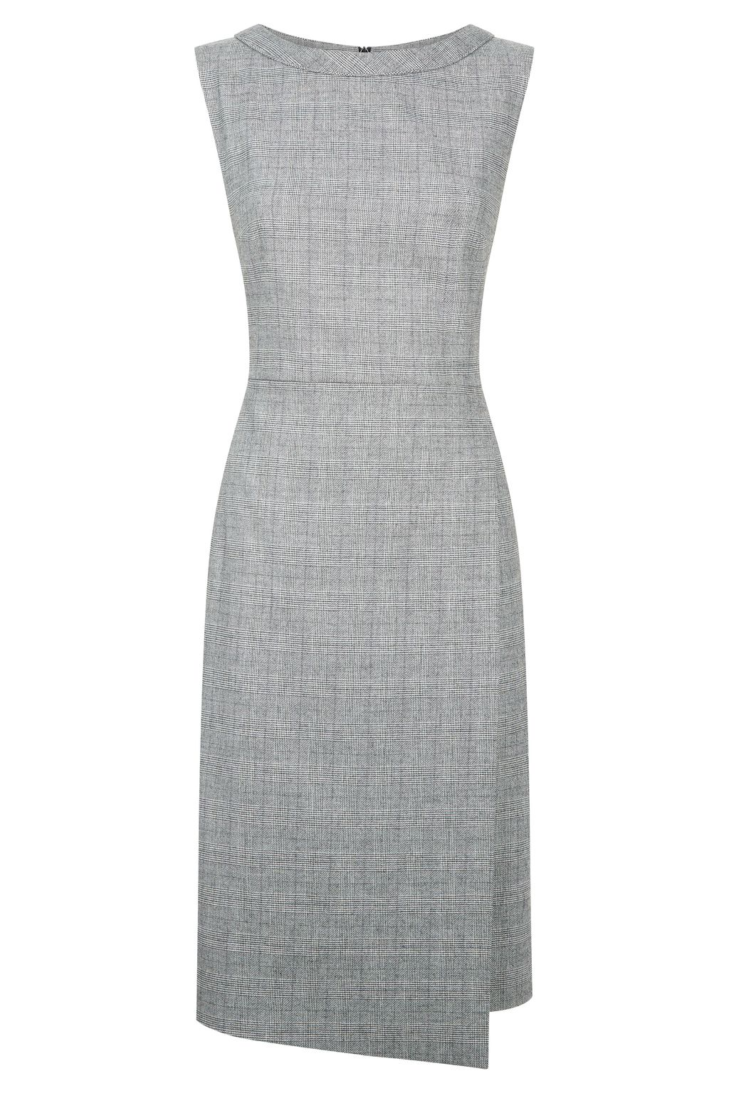 Asteroid Dress, Grey - style: shift; fit: tailored/fitted; sleeve style: sleeveless; pattern: checked/gingham; predominant colour: light grey; occasions: work; length: on the knee; fibres: polyester/polyamide - stretch; neckline: crew; sleeve length: sleeveless; pattern type: fabric; texture group: woven light midweight; season: a/w 2016; wardrobe: highlight
