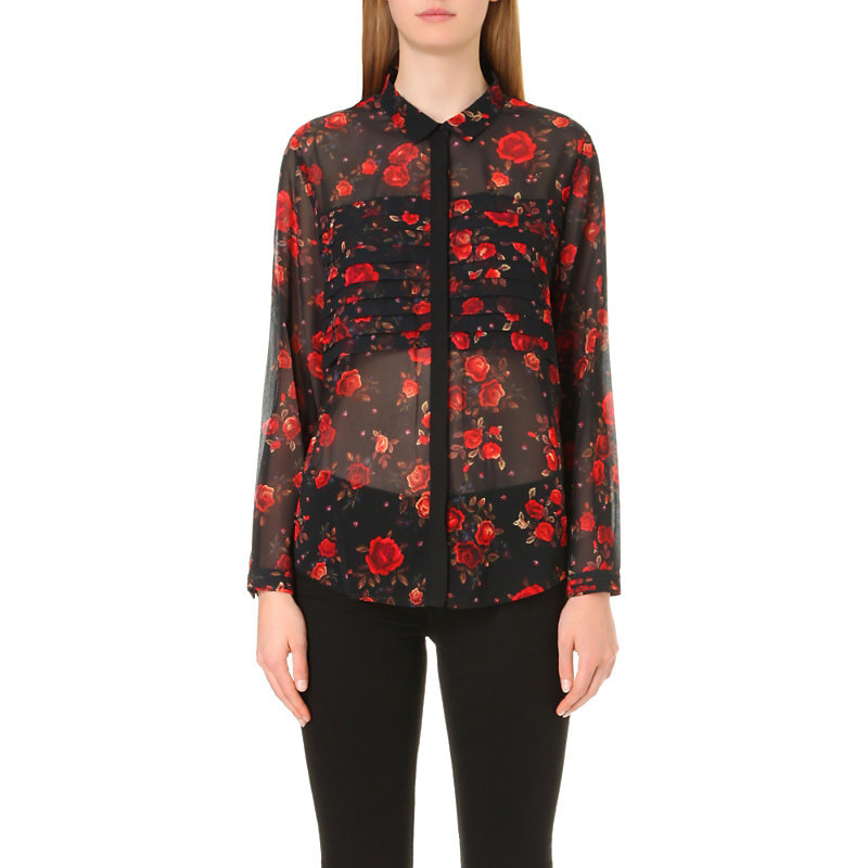 Romantic Roses Print Muslin Shirt, Women's, Size: Xxs, Black Red - style: shirt; secondary colour: true red; predominant colour: black; occasions: evening; length: standard; neckline: collarstand; fibres: polyester/polyamide - 100%; fit: body skimming; sleeve length: long sleeve; sleeve style: standard; texture group: sheer fabrics/chiffon/organza etc.; pattern type: fabric; pattern: florals; pattern size: big & busy (top); multicoloured: multicoloured; season: a/w 2016; wardrobe: event