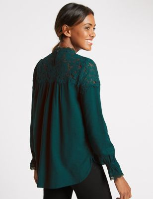 Lace High Neck Long Sleeve Blouse - neckline: shirt collar/peter pan/zip with opening; pattern: plain; length: below the bottom; style: blouse; predominant colour: teal; occasions: casual, creative work; fibres: viscose/rayon - 100%; fit: loose; sleeve length: long sleeve; sleeve style: standard; texture group: crepes; pattern type: fabric; season: a/w 2016; wardrobe: highlight; trends: romantic explorer