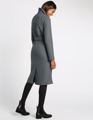 Unstructured Trench Coat - pattern: plain; style: trench coat; length: on the knee; collar: standard lapel/rever collar; predominant colour: mid grey; occasions: casual, creative work; fit: tailored/fitted; fibres: polyester/polyamide - mix; waist detail: belted waist/tie at waist/drawstring; sleeve length: long sleeve; sleeve style: standard; texture group: cotton feel fabrics; collar break: medium; pattern type: fabric; season: a/w 2016; trends: metropolis