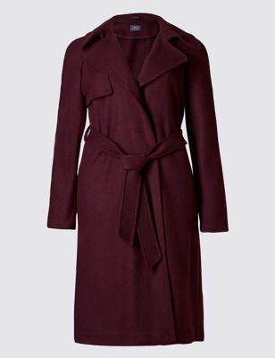 Wool Blend Double Face Trench Coat - pattern: plain; style: trench coat; length: on the knee; collar: standard lapel/rever collar; predominant colour: burgundy; occasions: casual, creative work; fit: tailored/fitted; fibres: polyester/polyamide - mix; waist detail: belted waist/tie at waist/drawstring; sleeve length: long sleeve; sleeve style: standard; texture group: cotton feel fabrics; collar break: medium; pattern type: fabric; pattern size: standard; season: a/w 2016; wardrobe: highlight