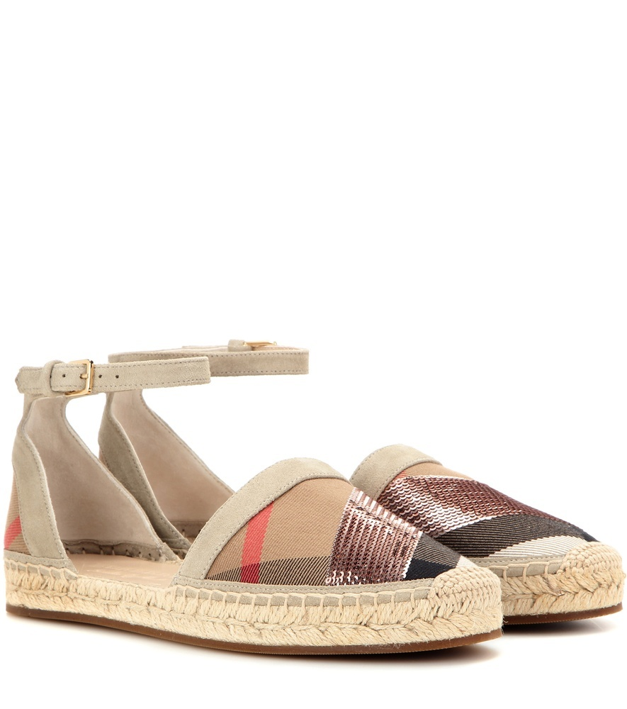 Abbingdon Suede And Fabric Espadrilles - predominant colour: champagne; occasions: casual, holiday; material: suede; heel height: flat; ankle detail: ankle strap; toe: round toe; finish: plain; pattern: patterned/print; style: espadrilles; multicoloured: multicoloured; season: a/w 2016; wardrobe: highlight