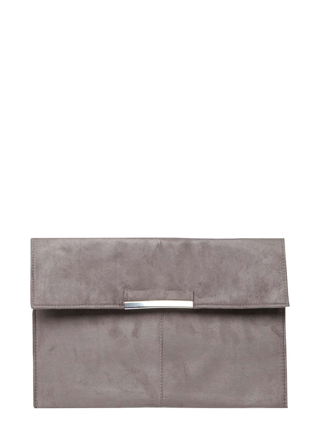 Womens Grey Faux Suede Tab Clutch Grey - predominant colour: charcoal; occasions: evening, occasion; type of pattern: standard; style: clutch; length: hand carry; size: standard; pattern: plain; finish: plain; material: faux suede; season: a/w 2016; wardrobe: event
